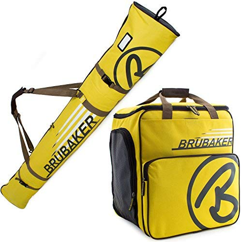 BRUBAKER Champion Combo - Limited Edition - Ski Boot Bag and Ski Bag for 1 Pair of Ski up to 190 cm, Poles, Boots and Helmet - Yellow Brown