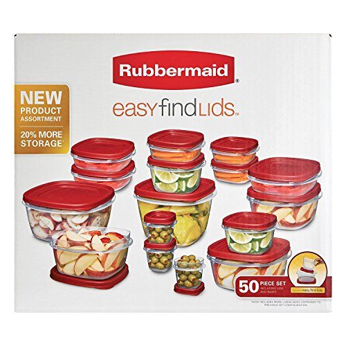(Rubbermaid Easy Find Lids Food Storage Containers, Racer Red, 50-Piece Set B002RSO2PW)