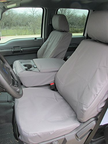 Durafit Seat Covers Made to fit 2014 Ford F150 or 2015 F250-F550 XLT and Lariat, 40/20/40 Split Seat with Opening Center Console, Exact Fit Seat Covers in Charcoal Gray Endura