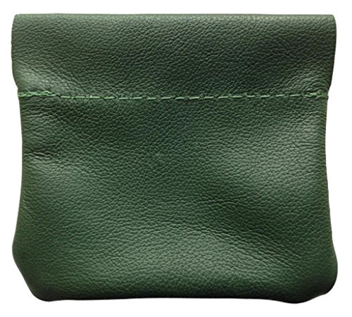 North Star Men's Leather Squeeze Coin Pouch Change Holder 3.25 X 3 X 0.25 Inches Green