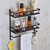 Rozin Bathroom Storage Holder Dual Tier Cosmetic Shelf with Towel Bar Black Color
