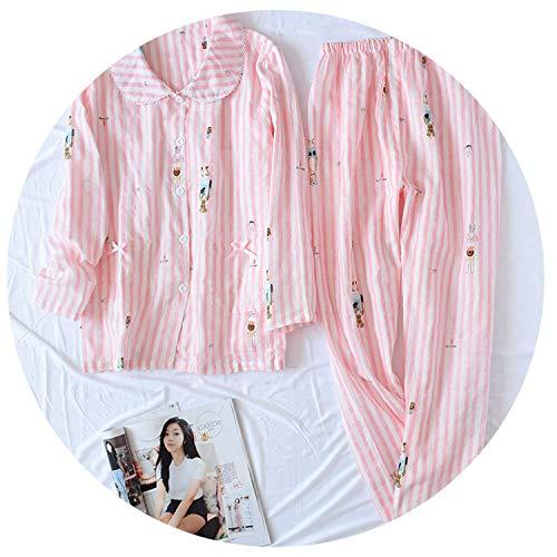 Korea Fresh Maple Leaf Pajama Sets Women Gauze Cotton Long Sleeve Casual Sleepwear Women Pyjama Pijamas