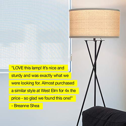 Brightech Jaxon Tripod LED Floor Lamp – Mid Century Modern, Living Room Standing Light – Tall, Contemporary Drum Shade Lamp for Bedroom or Office – Black by Brightech (Image #6)