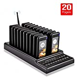 UeeVii Restaurant Pager System, Portable Wireless Calling Paging Queuing System with 20pcs Coaster Pager and 1pc Call Button Keypad Transmitter Wireless Guest Calling System for Food Truck Clinic Cafe