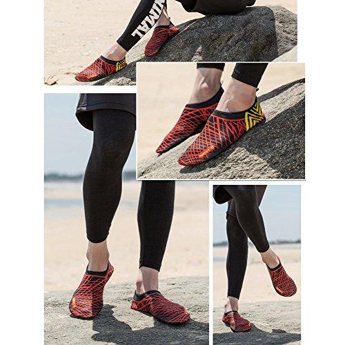 Aqua und roter Wasser Frauen Schwarz Streifen Leezo Schwimmschuhe Outdoor Wasserschuhe Dry Wasserschuhe Badeschuhe Quick Barfuß für Badeschuhe Männer Schuhe Schuhe ZBfnwvnWqU