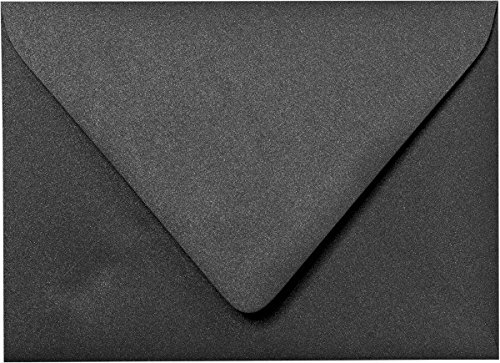 A-1 (4 Bar) Onyx Black Metallic Euro Flap Envelopes (3 5/8'' x 5 1/8'') - 50 Envelopes from Paper and More