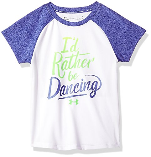 Under Armour Little Girls' Dream Big Play Bigger I'd Rather Be Dancing Short Sleeve T-Shirt, Snow White, ()