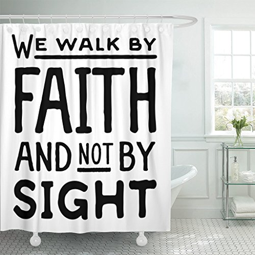TOMPOP Shower Curtain Beliefs We Walk By Faith and Not Sight Design Retro Christian Scripture Bible Verse Believe Christ Waterproof Polyester Fabric 72 x 72 inches Set with Hooks by TOMPOP
