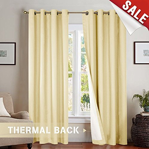 jinchan Bedroom Thermal Moderate Blackout Curtains, Energy Saving Lined Drapes for Living Room 84 Inch Length, Beige Curtain Panels Grommet Top, Sold by Pair