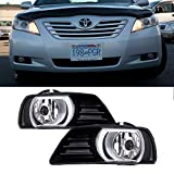 VioGi Fit:07-09 Toyota Camry Clear Lens Fog Lights Kit w/ Bulbs+Cover+Switch+Wiring Harness+Relay+Bracket+Necessary Mounting Hardware by VioGi