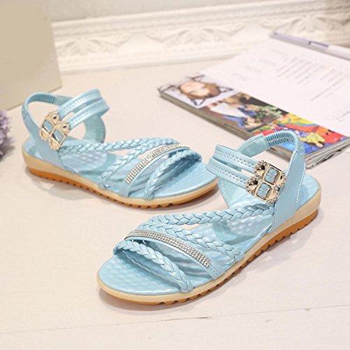 Sandalias de mujer, Internet Sandalias cómodas del verano plano de las mujeres Azul