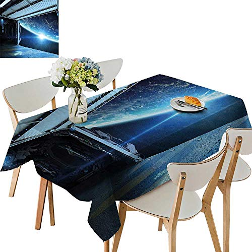 UHOO2018 100% Polyester Tablecloth terstellar Airlock Shuttle Runway Gate to Stars vasi View Blue Gr Square/Rectangle Multicolor,52 x 70inch (Gr Gates Glasses)
