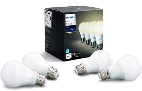 Philips Hue White A19 4-Pack 60W Equivalent Dimmable LED Smart Bulbs Hue Hub Required
