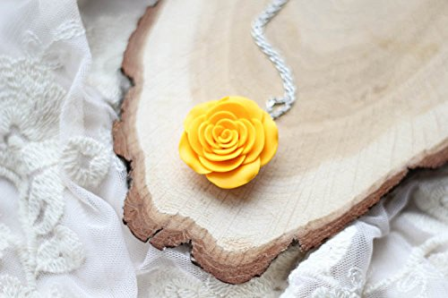 Amazon yellow rose pendant polymer clay rose necklace yellow rose pendant polymer clay rose necklace botanical jewelry mozeypictures Image collections