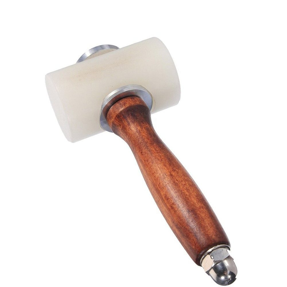 AIBER DIY Leathercraft Wooden Mallet Carving Hammer Wood Handle Nylon T Head 7.4 Inch (Nylon T-head) by AIBER
