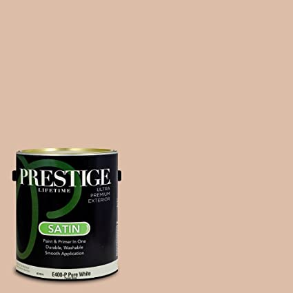 Prestige Paints E400-P-2004-8BVP Exterior Paint and Primer in One, 1-Gallon, Satin, Comparable Match of Valspar Mesa Sand, 1 Gallon, VS250-Mesa