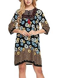 Meaneor Women Vintage Ethnic Style Printed Tassel Tie Loose Fit Boho Tunic Dress