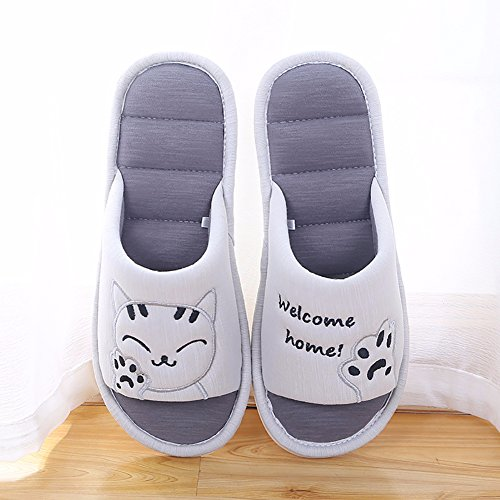 Cotton on Slippers Open Toe Women's Cute Slippers Gray Cliont Home Soft Cat Slip Indoor Shoes House 4fYvwnS8q