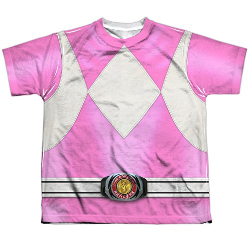 [Power Rangers Children's Live Action TV Series Pink Costume Big Boys Front Print] (Yellow Power Ranger Costumes Child)