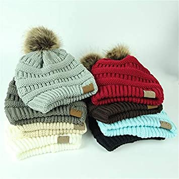 817f3618b Amazon.com: HOKUGA: Winter Brand Female Ball Cap Pom Poms Winter Hat ...