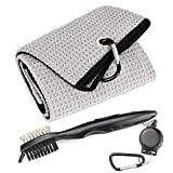 Mile High Life Microfiber Waffle Pattern Tri-fold Golf Towel   Brush Tool Kit with Club Groove Cleaner, Retractable Extension Cord and Clip (Gray Towel+Black Brush)
