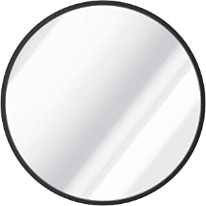 X Home 36 Inch Round Mirror, Matte Black Round Mirror Metal Frame, Circle Mirrors for Wall Decor, Bathroom, Entryway, Vanity, and More, Farmhouse & Modern Style