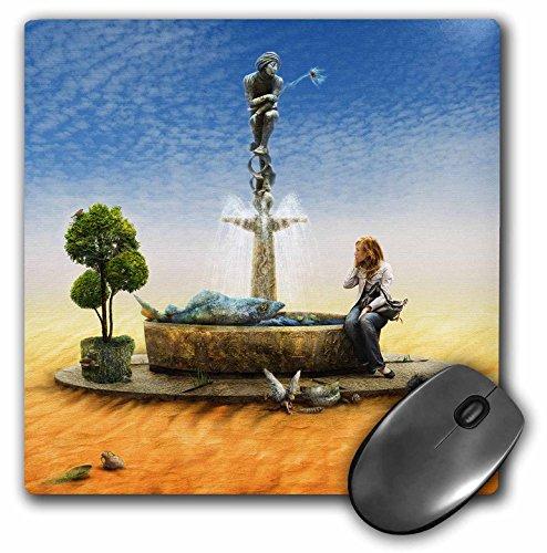 3dRose Houk Digital Surreal Art - Ismai Unique fontana on desert with girl and big fish - MousePad (mp_24298_1)