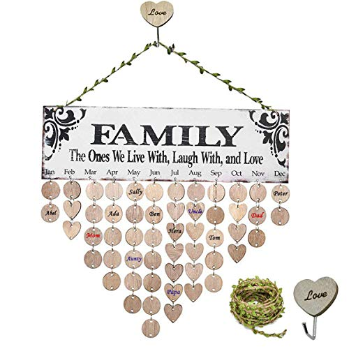 (MY BIBY Family Friends Birthday Calendar Wood Wall Hanging DIY Wooden Reminder Board Plaques Wood Crafts Home Decor with Leaf Rope & Heart Hook (Family Light Green))