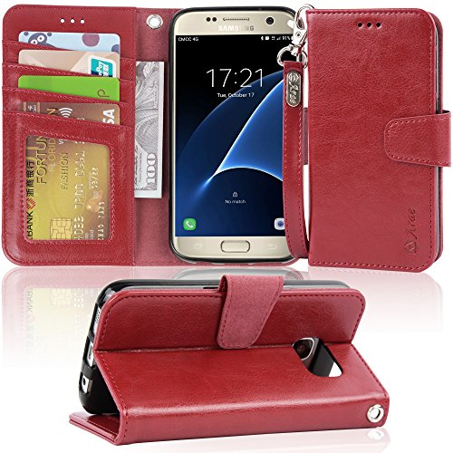 Galaxy s7 Case, Arae [Wrist Strap] Flip Folio [Kickstand Feature] PU Leather Wallet case with ID&Credit Card Pockets for Samsung Galaxy S7 (WineRed)