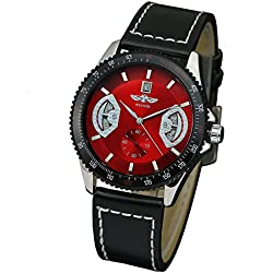 WINNER Mens RED FACE Automatic winding mechanical movement watch Leather Black with date display