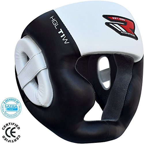 RDX Cow Hide Leather Boxing MMA Headgear UFC Head Guard Sparring Helmet Protector Fighting (CE Certified Approved