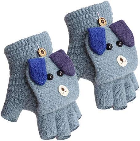 F/äustlinge mit Knopf Klappe Fingerlose Handschuhe f/ür Kinder Winter Warm Strickhandschuhe Winterhandschuhe in Affe Optik