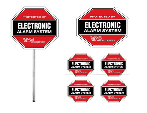 vas-security-sign-105-burglar-warning-sign-kit-2-signs-1-on-aluminum-stake-4-matching-decals-protect