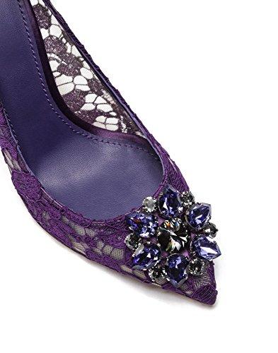 Dentelle Toe Diamant Usure Pointues Stilettos Chaussures De Femmes Mariage Violet Ubeauty Escarpins Parti 5fBWxX