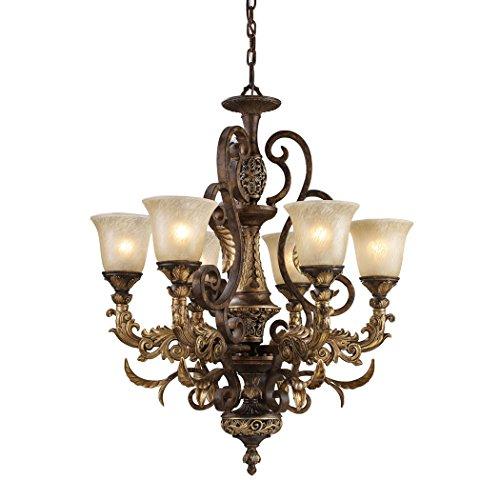 Alumbrada Collection Regency 6 Light Chandelier In Burnt Bronze And Gold Leaf (Sconce Leaf Burnt Gold)