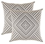 Decorative Pillow Cover - TreeWool, Soft Cotton Kaleidoscope Accent Decorative Throw Pillow Covers (2 Cushion Covers; 20 x 20 Inches; Sleet Grey & White)
