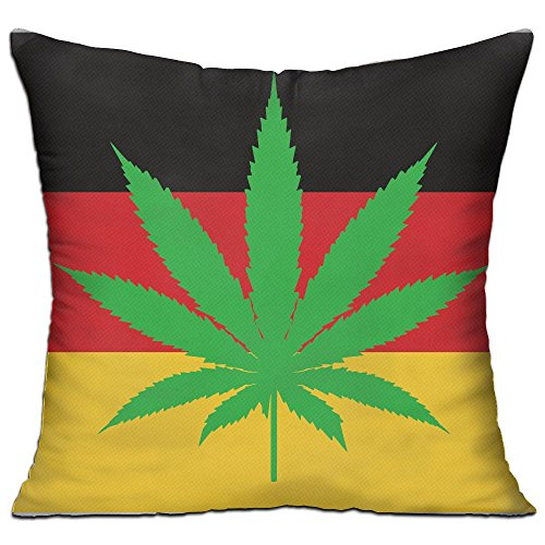 CY STORE Weeds Leaf With Germany Flag Square Cotton Linen Sofa Cushion Covers Decorative Home Zippered Custom Throw Pillow 18 X 18 Inch(contain Pillow ()