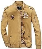 Sawadikaa Men's Military Cotton Lightweight Jacket Windbreaker Wind Trench Coat Bomber Jacket Khaki Large
