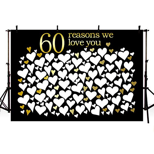 MEHOFOTO 60th Anniversary Photo Studio Backgrounds Poster Happy 60th Birthday Party Decorations Banner 60 Reasons We Love You Printable Photography Backdrop Props 7x5ft ()