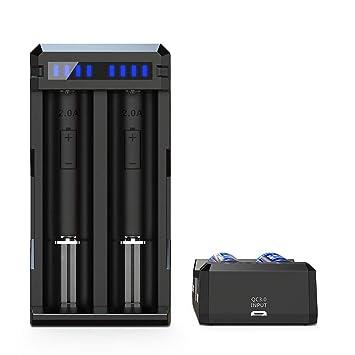 Cargador rápido de 3 A XTAR SC2 18650 Cargador de batería ...