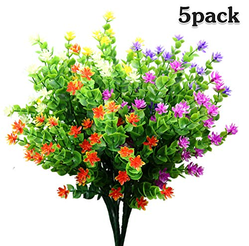 LUCKY SNAIL Artificial Flowers, Fake Outdoor UV Resistant No Fade Boxwood Shrubs Plants, Lifelike Plastic Flowers for Indoor Outdoors Home Office Garden Wedding Sidewalk Trim Decor, 5 Pcs(Mixture) (Flowers Plastic Outdoor)