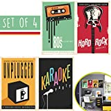 Set Of 4 Music Bedroom Decor Posters, The Best Home Theater Decor to Enjoy the Best Concerts in History Again! Movie Room Decorative Retro Gifts, Special Vintage Design - Art Studio Decorative Items