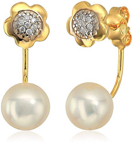 14k Yellow Gold Italian Freshwater Pearl and Cubic Zirconia Dangle Earrings