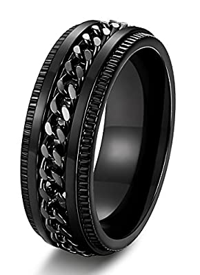 FIBO STEEL Stainless Steel 8mm Rings for Men Chain Rings Biker Grooved Edge, Size 7-14