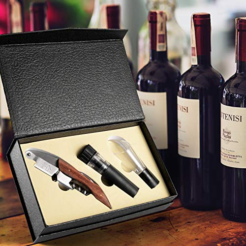 Wine Opener Set with Heavy Duty Waiter Corkscrews, Aerator Pourer, Wine Saver and Deluxe Gift Box, Kitchen & Dining & Bar Wine Accessories Openers Tools from JINJIAN