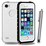 iPhone SE Waterproof Case,Cattech [Water resistant] IP68 Protection Dirt-poof Shockproof Snow-proof ,Underwater Hard Armor Rugged Full Body Sealed Case Cover for iPhone 5/5S/SE + Stylus (White)