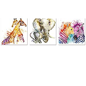 Visual Art Decor Abstract Animals Canvas Wall Art Zebra Giraffe Elephant Wall Decal Watercolor Painting Prints Decor for Bedroom Living Room Classroom Gift for Kids
