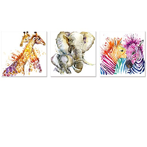 Visual Art Decor Abstract Animals Canvas Wall Art Zebra Giraffe Elephant Wall Decal Art Animals Watercolor Painting Prints Decor for Bedroom Living Room Classroom Gift for (Animal Canvas Prints)