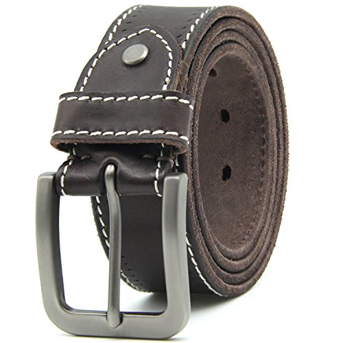(Leather Belts for Men Top Leather Brushed Pin Buckle Mens Belt Come A Gift Box (44