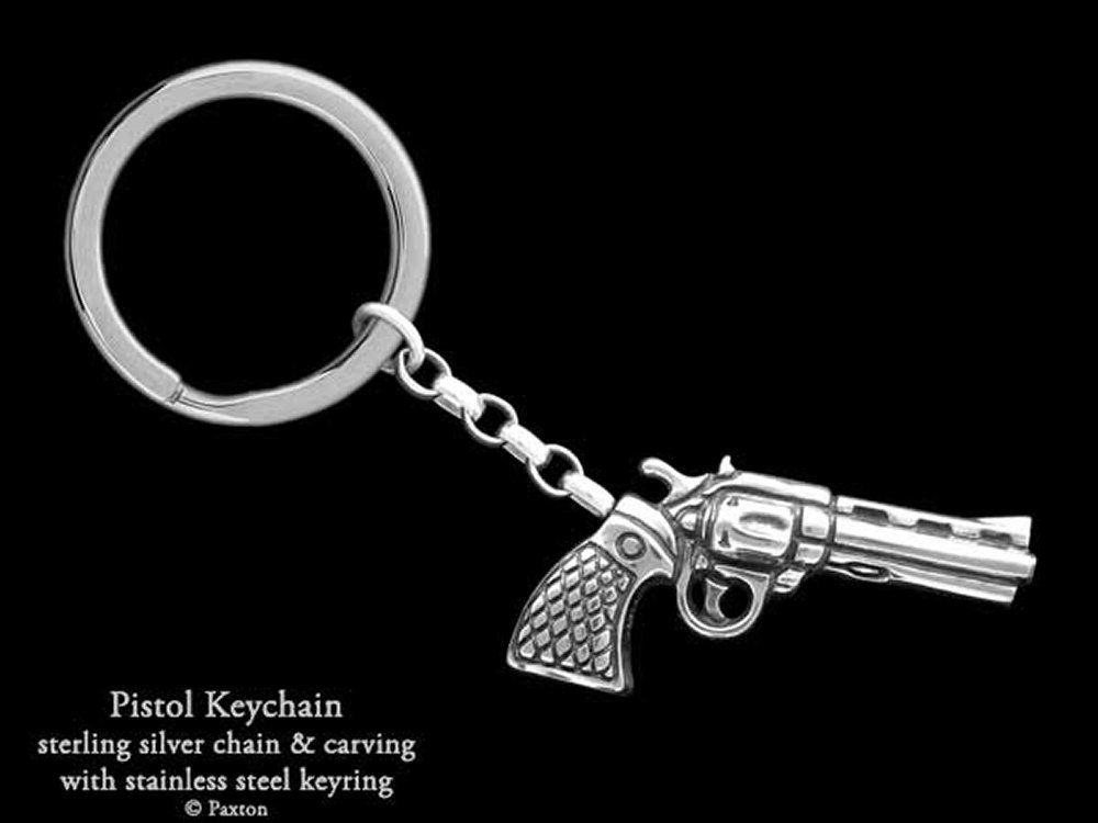 Pistol Revolver Keychain / Keyring Sterling Silver Handmade by Paxton